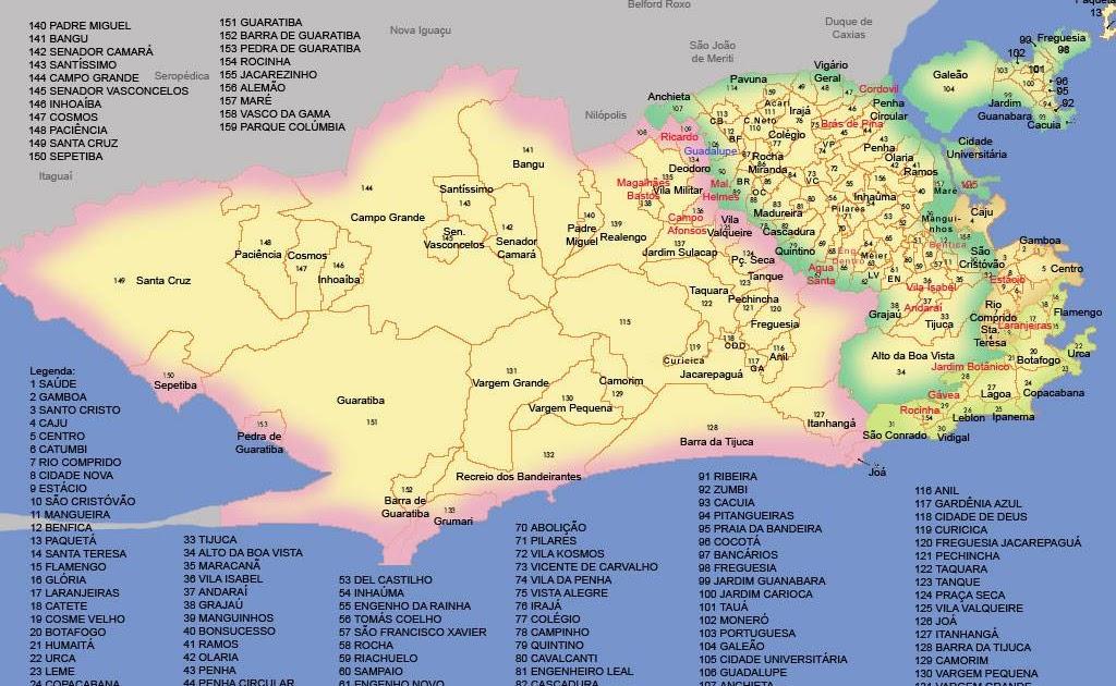 Resultado de imagem para mapa da cidade do rio de janeiro com os bairros